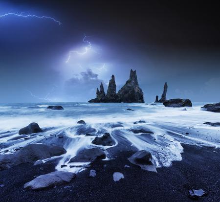 Lightning in cloudy dark sky. Annual Fantastic night scene. The