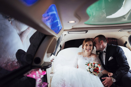 smiley face car: Happy man and woman smiling rejoicing in wedding day.