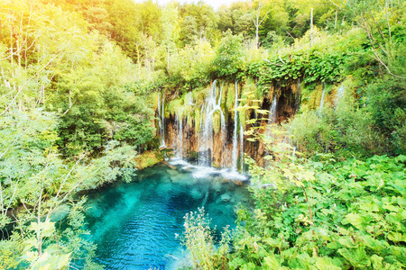 Fantastic views of waterfalls and turquoise water a sunlight