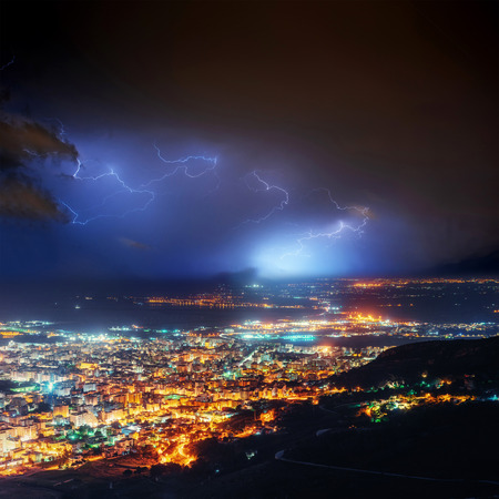 Night Lights Of The Coastal City From The Height Stock Photo, Picture And  Royalty Free Image. Image 72038495.