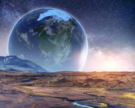 Realistic 3D Earth Lyustration. Courtesy of NASA. Fantastic star