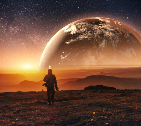 exploration: Realistic 3D Earth Lyustration. Courtesy of NASA. Man in Space.
