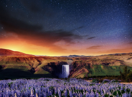 Great waterfall Skogafoss in south of Iceland