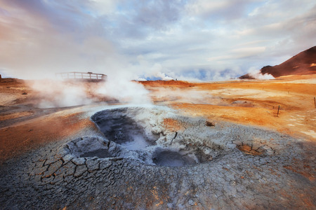 Geothermal area Hverir. Location place Lake Myvatn Stock Photo