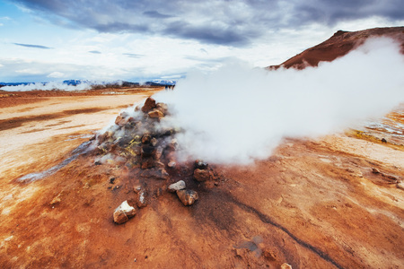 Fumarole field in Namafjall Iceland Imagens