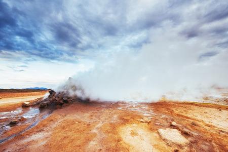 Fumarole field in Namafjall. Iceland