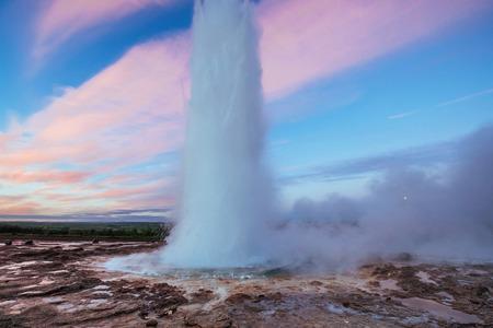 Strokkur geyser eruption in Iceland. Fantastic colors. Beautiful Stock Photo