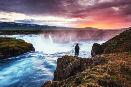 Beautiful Icelandic waterfall Hodafoss.