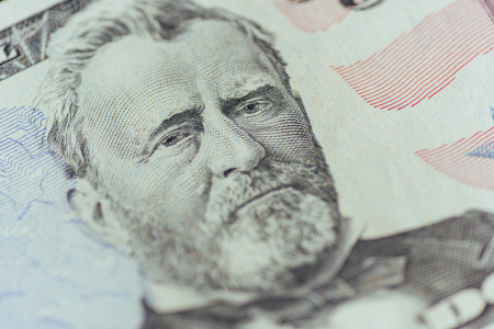 Ulysses Grant on the US fifty person or 50 bill macro closeup Stock Photo