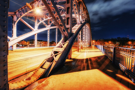 po: Bridge Vistula river promenade sunny winter day snow, Krakow, Po