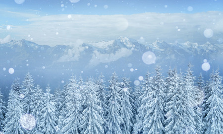 Geheimzinnige winterlandschap majestueuze bergen in de