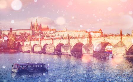 Charles Bridge in Prague, Czech republic. Photo greeting card. B