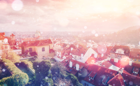 ligh: beautiful houses Czech Republic. Photo greeting card. Bokeh ligh