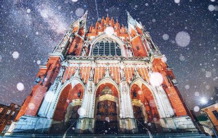 st  joseph: Church St. Joseph in Krakow. Fantastic starry sky. Photo greetin
