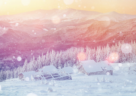 wintersport: cabin in the mountains in winter, background with some soft high Stock Photo