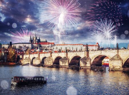 Fantastic views of the Charles Bridge. The beauty  the sky. Cz Stock Photo