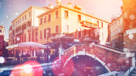 gree: Grand canal and architecture - bridge. Italy. Venice. Photo gree Stock Photo
