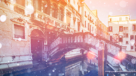 Canal in Venice, Italy. Photo greeting card. Bokeh light effect Stock Photo