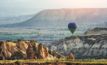 Balloon foggy morning in Cappadocia. TURKEY. blurred images Stock Photo - 74111192