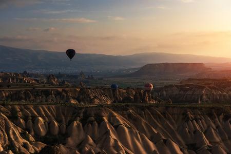 Balloon foggy morning in Cappadocia. TURKEY. blurred images