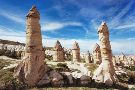 여름, Goreme, 카파도키아 터키 사랑의 계곡 스톡 콘텐츠