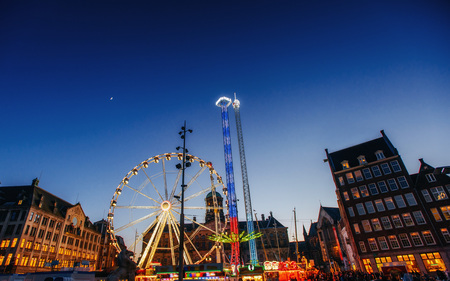 amusement park at the center of Amsterdam at night 스톡 콘텐츠