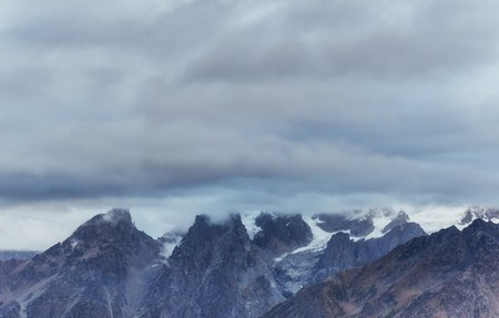 Thick fog on the mountain pass Goulet. Georgia, Svaneti. Europe. Caucasus mountains