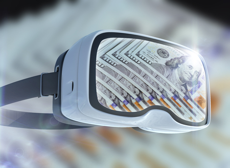 Virtual reality glasses, business, technology, internet and networking concept. US Dollar banknotes and abstract representing the cryptocurrency or digital money.