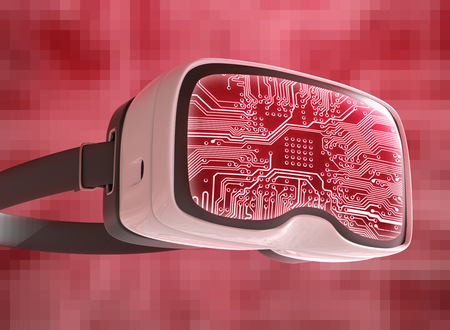 Virtual reality glasses, futuristic hacker, internet technology and network concept. Network security. Abstract modern virtual computer script. Stock Photo
