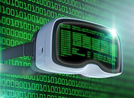 가상 현실 안경, 미래의 해커, 인터넷 기술 및 네트워크 개념. 네트워크 보안. 추상 현대 가상 컴퓨터 스크립트입니다. 소프트웨어 개발자 프로그래밍  스톡 콘텐츠