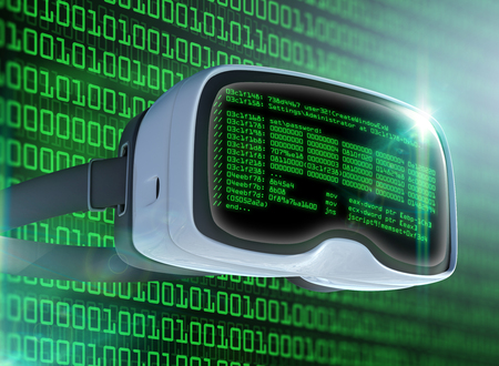 Virtuele realiteitsglazen, futuristische hacker, internettechnologie en netwerkconcept. Netwerk veiligheid. Abstract modern virtueel computerscript. Softwareontwikkelaar programmeercode. Stockfoto