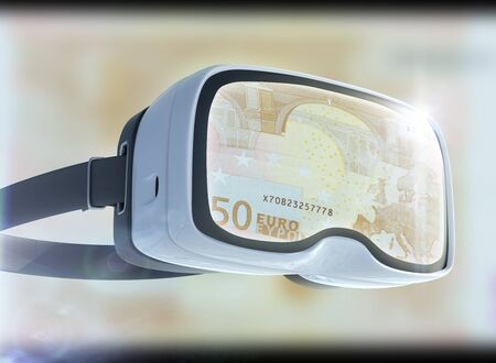 Virtual reality glasses, business, technology, internet and networking concept. EURO banknotes and abstract representing the cryptocurrency or digital money. Stock Photo