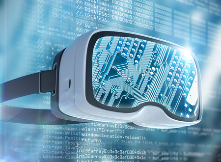 Virtual reality glasses, futuristic hacker, internet technology and network concept. Network security. Abstract modern virtual computer script. Software developer programming code.