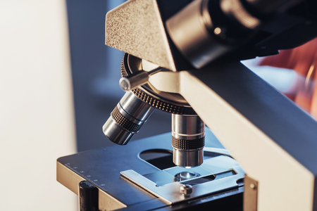 sample tray: microscope close-up shot in the laboratory, Medical equipment Stock Photo