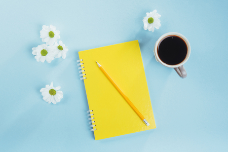 On the blue background notebook pencil, ruler and white flowers.