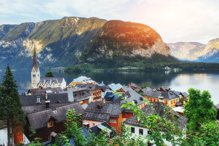 Scenic panoramic view of the famous mountain village in the Austrian Alps. Hallstatt Austria