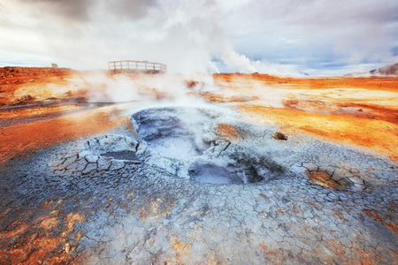 Fumarole field in Namafjall Iceland. Beauty world Imagens
