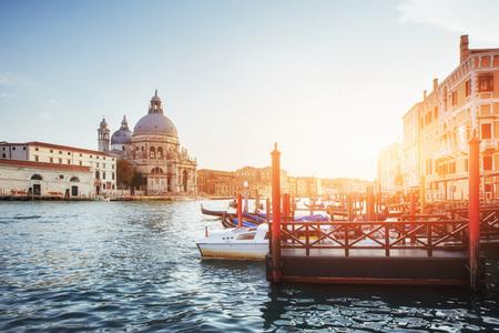 Gondolas on Grand canal in Venice, San Giorgio Maggiore church. San Marco. Beautiful summer landscape Stock Photo