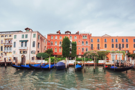 Venice Grand canal with gondolas and Rialto Bridge, Italy in summer bright day. Beauty world Stock Photo