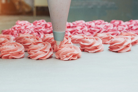 수 제 마시 맬로 흰색 양피지에 분홍색입니다.