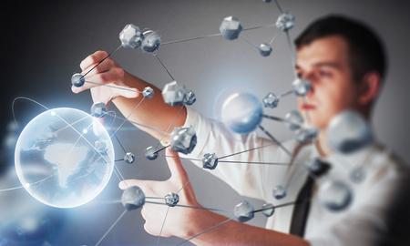 科学および薬の革新的な技術。接続する技術。セキュリティの概念