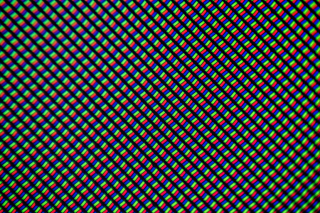 Light photomicrograph of a mobile LCD screen seen through a microscope