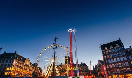 Night view of amusement park carousel