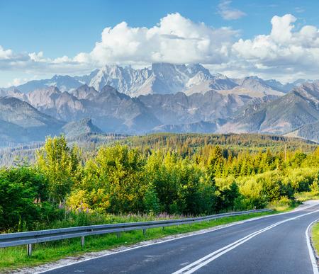 Scenic road in the mountains. Mountain View. Carpathians. Ukraine Europe Stock Photo