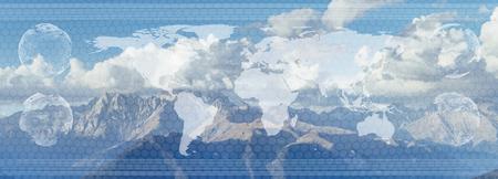 世界的なビジネス概念の二重露光。世界地図とグラフ指標について、国際販売、Internet of Things、技術と未来のヘッドアップ ・ ディスプレイ HUD を分 写真素材