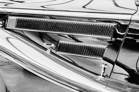 close up of the side parts on a sport vintage automobile Imagens