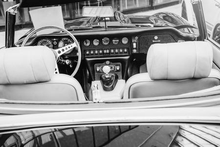 Luxury car interior. Beautiful retro style transport exhibition