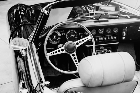 restored: Luxury car interior. Beautiful retro style transport exhibition. Stock Photo