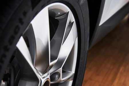 Part of modern new wheel car with disk brake pad