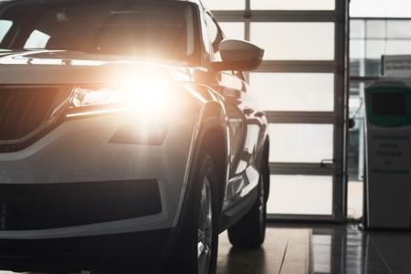 새로운 고급 자동차의 헤드 라이트 및 후드